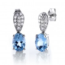 Oval Aquamarine Drop Earrings