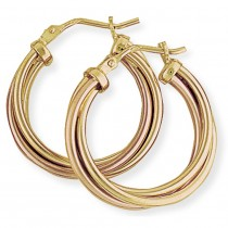 Rose and Yellow Gold Hoops