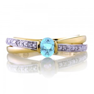 Blue Topaz Crossover Ring