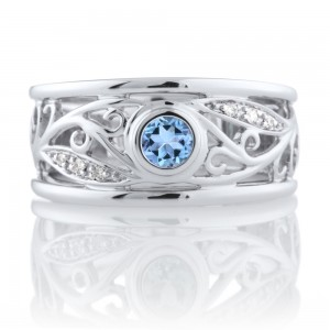 Aquamarine Filagree Ring