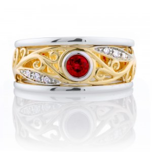 Round Ruby Filagree Ring