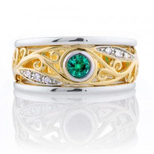 Round Emerald Filagree Ring