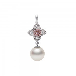 Pink Diamond and Pearl Pendant