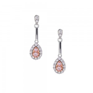 Pink Diamond Teardop Earrings