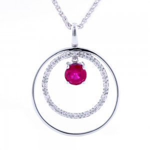 Double Circle Ruby Pendant