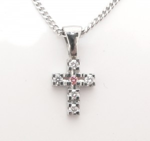 Pink Diamond Cross Pendant