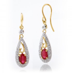 Ruby Drop Hook Earrings