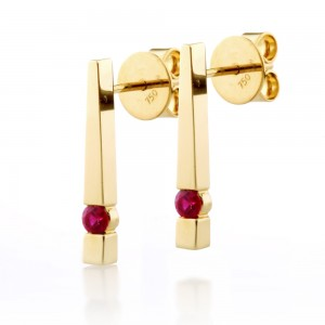 Solitaire Ruby Bar Earrings