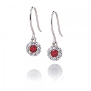 Ruby and Diamond Halo Drops