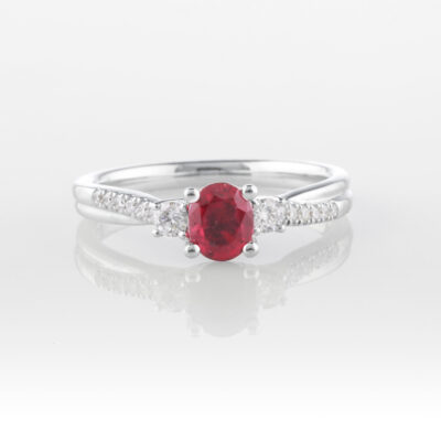 Oval Ruby Trilogy Ring