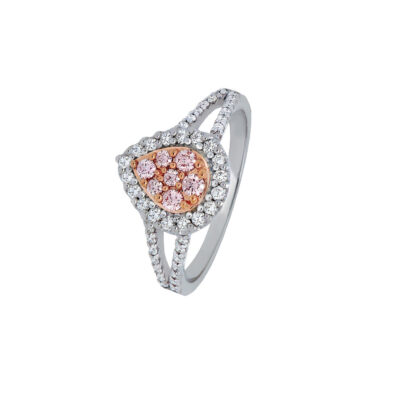 Tear Drop Pink Diamond Cluster