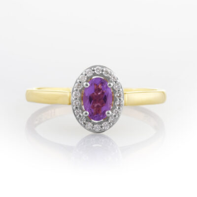 Amethyst and dia cluster ring