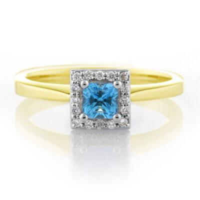 Blue Topaz Princess Cluster
