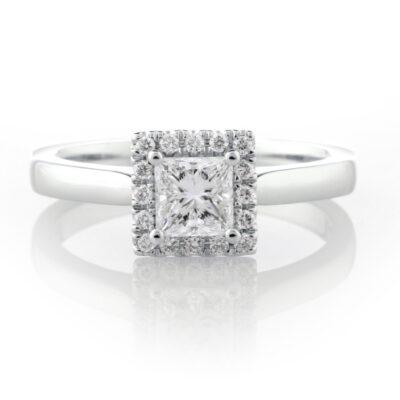 Princess Halo Engagement Ring