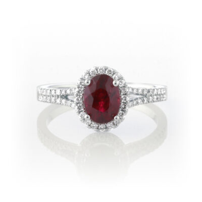 Oval Ruby Halo Ring