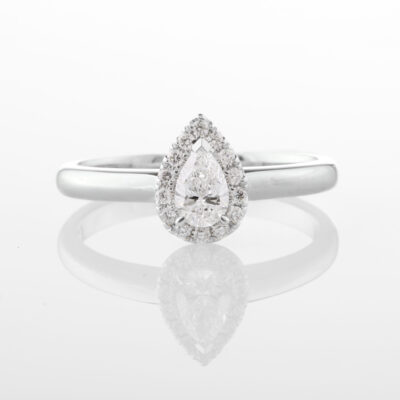 Pear Shape Halo Ring