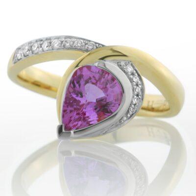 Pear Pink Sapphire Dress Ring