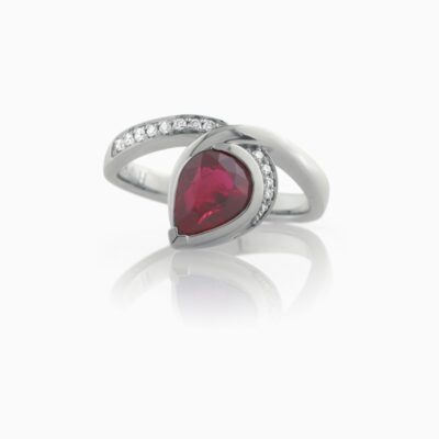 Pear Shape Ruby Dress Ring