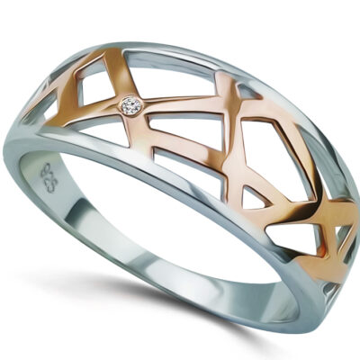 Two-Tone Web Style Dress Ring