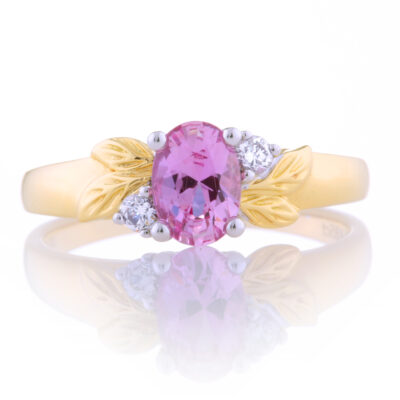 Pink Sapphire Leaf Ring