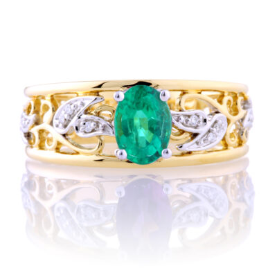 Oval Emerald Filagree Ring