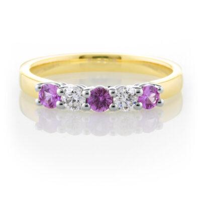 Pink Sapphire Anniversary Ring