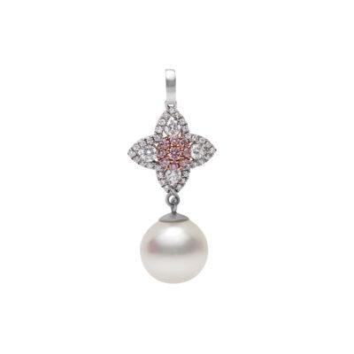 Pink Diamond and Pearl Pendant