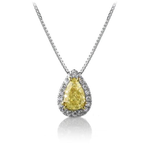 Yellow Diamond Pear Pendant