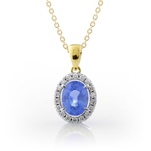 Sapphire Halo Pendant