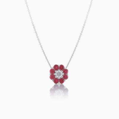 Floral Ruby Pendant
