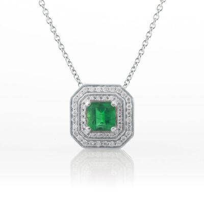 Double halo emerald pendant