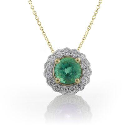 Scalloped Emerald Halo Pendant