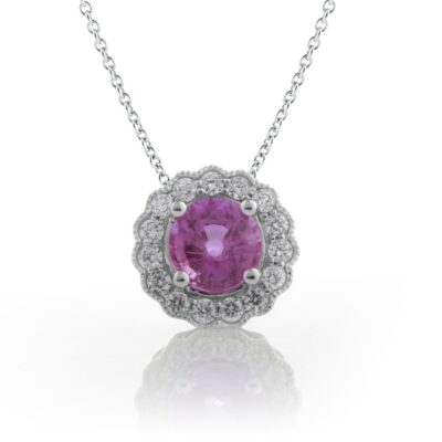 Pink Sapphire Floral Pendant