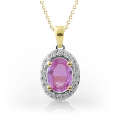 Pink Sapphire Halo Pendant
