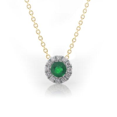 Round emerald halo pendant