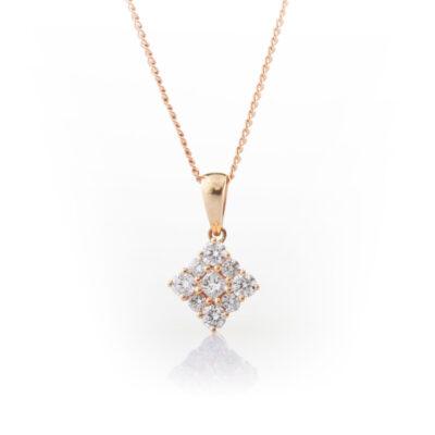 Square cluster diamond pendant
