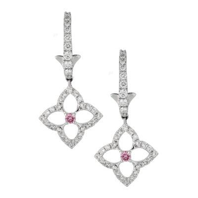 Pink Diamond Drop Earrings