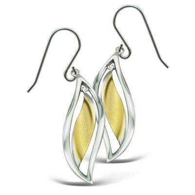 Framed Leaf Drop Earrings