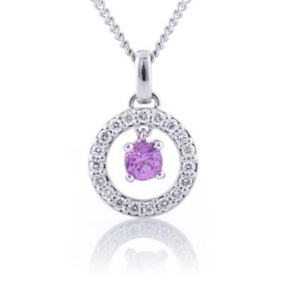 Pink Sapphire Circle Pendant