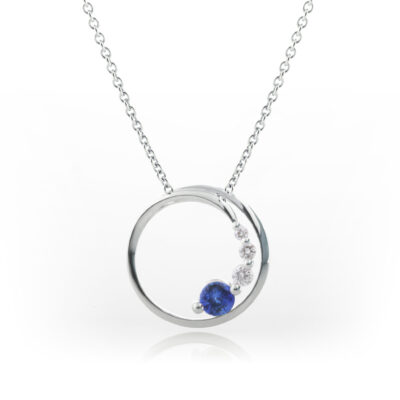 Sapphire circle pendant