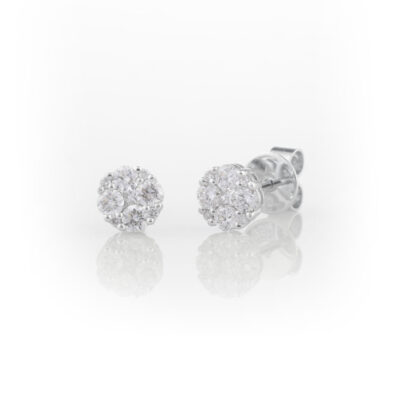 Round diamond cluster studs.