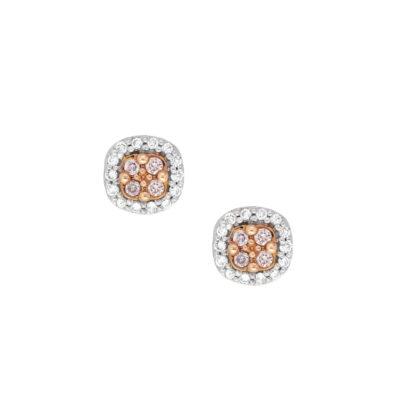 Pink Diamond Cluster Studs
