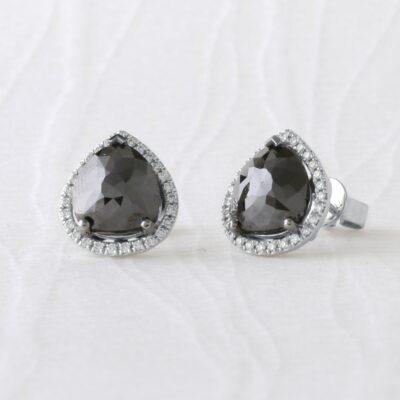 Black Diamond Halo Earrings