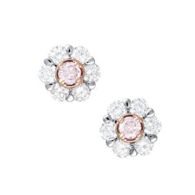 Pink Diamond Cluster Earrings