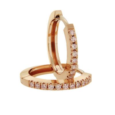 Pink Diamond Hoop Earrings