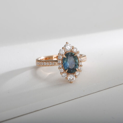 Rose Gold Teal Sapphire Ring