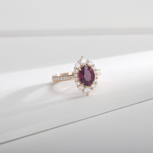 Plum Garnet Halo Ring