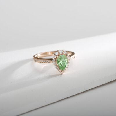 Pear Shape Mint Garnet Ring